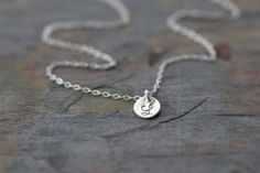 initial necklace, tiny small sterling silver disc. disc is tiny, measures 1/4 inch or 6mm. select your number of discs at checkout  please leave
