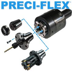 The Preci-Flex extended adapters use extended collet chucks to position the tooling closer into a machine spindle or chuck. Their extended lengths eliminate any tool interference and permit smaller size collet diameters to be used that are closer to those of the cutting tool.(click on image to enlarge it)