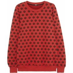 Markus Lupfer Smacker printed cotton sweatshirt (7.160 RUB) ❤ liked on Polyvore featuring tops, hoodies, sweatshirts, red, red top, red sweatshirt, loose tops, markus lupfer sweatshirt and markus lupfer