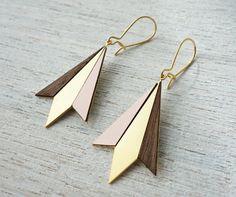 Northern Lights Drop Earrings, Scandinavian design, geometric wooden jewelry on Etsy