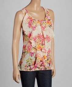 Look at this Ivory Floral Ruffle-Front Camisole on #zulily today!