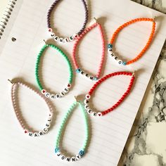 You name it Personalized Name Alphabet Glass Pearl Bracelet - kandi bracelets Letter Bead Bracelets, Pony Bead Bracelets, Kandi Bracelets, Friendship Bracelets With Beads, Summer Bracelets, Cute Bracelets, Pony Beads, Making Bracelets, Homemade Bracelets