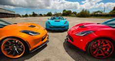 Colorful wide-body C7 Corvette Stingrays