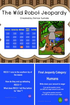 This game is a perfect way to review concepts and ideas from The Wild Robot by Peter Brown. Jeopardy categories are Characters, Survival Tips, Wild Robot, Helping Others, and The RECOs. Divide your class into teams or challenge your class to play other classes.