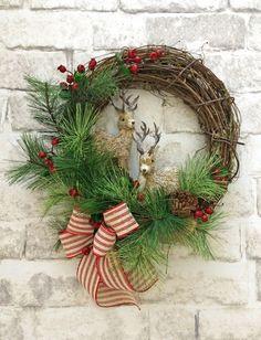 SALE  Reindeer Wreath Christmas Wreath Front by AdorabellaWreaths