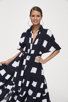1fa5181a40 Picnic-blanket Gingham. Tiered maxi shirt dress