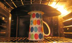 Record Art Ideas | Place the mug, upside-down, in the centre of the oven, making sure ...