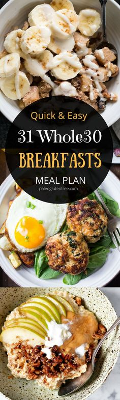 Best breakfast recipes all in one place. 31 days of breakfast recipes! meal plan that's quick and healthy! recipes just for you. Easy W paleo diet whole 30 Whole 30 Diet, Paleo Whole 30, Whole 30 Recipes, 30 Day Whole 30 Meal Plan, Whole Foods Meal Plan, Whole 30 Snacks, Paleo Meals, Paleo Recipes, Real Food Recipes