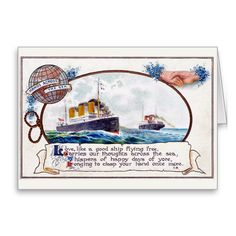 Hand Across The Sea - Vintage Greetings Card. Send this vintage travel card to someone special. http://www.zazzle.com/hand_across_the_sea_vintage_greetings_card-137391647988955536 #greetingcard #card #travel #relationships #vintage