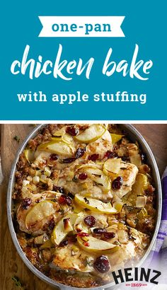 One-Pan Chicken Bake with Apple Stuffing – Bring fall flavors to the table with this one-pan recipe. Ready in just 45 minutes, this dish co. Turkey Recipes, Fall Recipes, Chicken Recipes, Dinner Recipes, Chicken Meals, Apple Stuffing, Stuffing Mix, Pan Recipe, Tasty Recipe