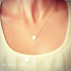 love this Custom Initial Small Triangle Necklace  by thelovelyraindrop