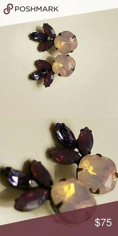 Dannijo Luna Earrings Swarovski Crystal earrings in shades of purple, post backs, 1 inch width, 3/5 inch height, .4 oz DANNIJO Jewelry Earrings