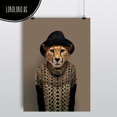 Impresión el lámina decorativa de un guepardo muy fashion