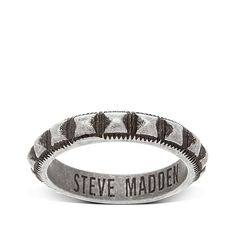 Steve Madden Men's Textured Stud Burnished Stainless Steel Ring