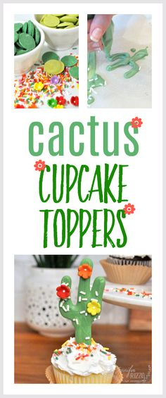 Make fun cactus cupcake toppers with candy melts and edible embellishments for a summer party idea