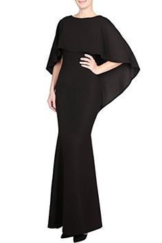 Absolute Rosy Womens Elegant Draped Overlay Waterfall Low Back Evening Dress Black L >>> Click image for more details. (Note:Amazon affiliate link) #WeddingDresses