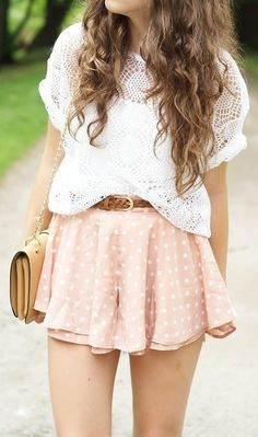 pink dot skirt + loose white top + belt + clutch