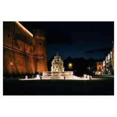 The Masini fountain in Cesena at night - Instagram by @Polly Lyons