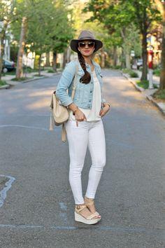 Denim Jacket, all white & Platform Espadrilles