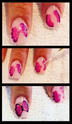 Butterfly tutorial nail art