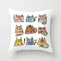 Throw Pillow featuring Cats by Sofya Dushkina