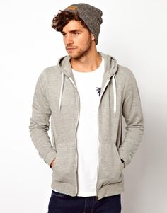 ASOS Zip-Through Hoodie. The key to a good hoodie is fit. Your green stripe one is too big on your frame, and the color makes you look young and immature. The best way to look more adult while wearing a hoodie is simplicity and fit(and good dark wash jeans).