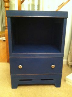 Found this nightstand and up cycled for a client's little boy's room.  Painted ASCP Napoleonic Blue.  By Lisa @ PaintThisAndThat.Com