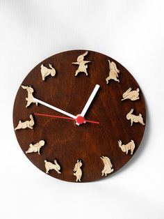 Wooden clock with yoga bunnies Christmas gift idea di MustHaveGift