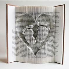 Book Folding Pattern + cuts Baby Feet in Heart: + Free printable downloads (pdf) to personalise your book art and full step by step tutorial