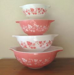 Vintage Pyrex Gooseberry Cinderella Mixing Bowls - Set of 4 from whimsicalvintage on Ruby Lane