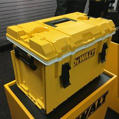DeWalt ToughSystem Cool Box! New ToughSystem cooler coming 2018. Fingers crossed it gets metal side latch hinges. Looks like it has a bottle opener on the right side (see metal plate with 2 screws) Who will be adding this to the lineup? I could use one for under my ToughSystem radio at the beach. @toolaholic @hdcarpentry #cooler #dewalt