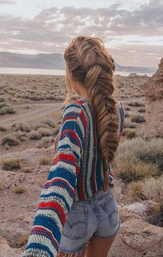 Shop UO Striped Yarn Sweater at Urban Outfitters today. Urban Hairstyles, Ponytail Hairstyles, Cute Hairstyles, Braided Hairstyles For Long Hair, Crimped Hairstyles, Hairstyle Pics, Bangs Hairstyle, Wedge Hairstyles, Teenage Hairstyles