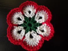 Crochet Motif, Crochet Flowers, Crochet Accessories, Crochet Earrings, Crochet Jewellery, Red And White, Diy And Crafts, Beanie, Sewing