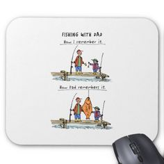 A funny cartoon mousepad for all the awesome #dad who love to tell the #fishing stories of the trips with their kid.