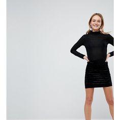 Monki Velvet Mini Skirt ($27) ❤ liked on Polyvore featuring skirts, mini skirts, black, body con skirt, patterned skirts, print skirt, short mini skirts and patterned mini skirt