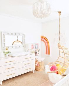 The details in rainbow nursery are to die for! 🌈 The IKEA hack. The details in rainbow nursery are to die for! 🌈 The IKEA hack dresser and yarn-wrapped rainbow are awesome DIYs. LINK IN BIO or head to stories to see the whole room! Big Girl Bedrooms, Little Girl Rooms, Ikea Girls Bedroom, Bedroom Decor Kids, Light Pink Girls Bedroom, Ikea Bedroom Dressers, Girls Bedroom Decorating, Elegant Girls Bedroom, Modern Girls Rooms