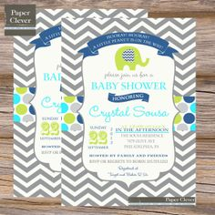 Boys baby shower invitation elephant typography by paperclever