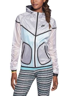 Nike Women's Tech Windrunner Running Jacket (Large, White/Black)