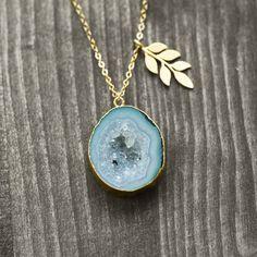 One of a kind  gemstone druzy necklaces and rings by German jewelry label koshikira kk  jewelry Schmuck Layer Look