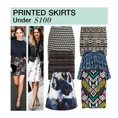 """""""Under $100: Printed Skirts"""" by polyvore-editorial ❤ liked on Polyvore featuring H&M, Abercrombie & Fitch, Coast, PrintedSkirts and under100"""