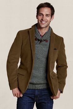 Lands' End Canvas Holiday Look - Men's Corduroy Blazer in Brown Umber Brown Corduroy Jacket, Corduroy Blazer, Gentleman's Wardrobe, High Fashion Looks, Little Boy Outfits, Business Fashion, Couture, Autumn Winter Fashion, Men Sweater