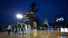 Michigan State vs. UNC aboard the Carl Vinson aircraft carrier.