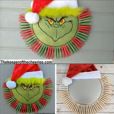 Grinch Pizza Pan Clothespin Wreath #christmas #christmaswreath #clothespinwreath #grinch #grinchwreath #christmascraft #dollarstore #dollarstorewreath #easywreath #christmascraft Wooden Christmas Crafts, Christmas Advent Wreath, Grinch Christmas Decorations, Grinch Ornaments, Halloween Wood Crafts, Grinch Christmas Party, Diy Halloween Decorations, Holiday Crafts, Fall Decorations