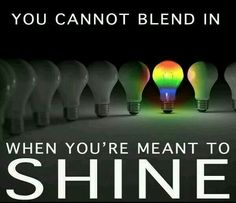 'You can't blend in when you're meant to shine.' Simple, but true :)