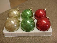 Glitter Ornaments:  Clearm Ornaments, Future Floor Wax w/blue cap, Martha Stewart's extra fine glitter