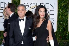"Amal Clooney's red carpet debut did not disappoint, with the human rights lawyer pairing a sleek, black Dior gown with Harry Winston diamond drop earrings and white satin gloves she sewed herself (and a ""Je Suis Charlie"" pin). Dating An Older Man, Older Men, Eddie Redmayne, Amal Clooney, George Clooney, Julianne Moore, Dolce & Gabbana, Golden Globe Award, Golden Globes"