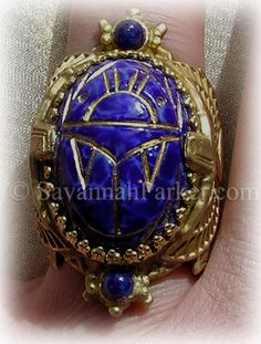 Antique Style Deco 1920s Egyptian Revival Scarab Lapis Blue Glass Ring by savannahparker on Etsy
