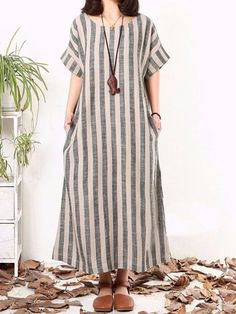 Plus Size Women Gray Shift Daytime Cotton Short Sleeve Striped Linen Dresses sum. - Women's style: Patterns of sustainability Baggy Dresses, Linen Dresses, Women's Dresses, Plus Size Dresses, Casual Dresses For Women, Dress Outfits, Short Sleeve Dresses, Elegant Dresses, Short Sleeves