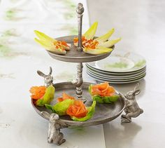 Adorable Antique-Silver Bunny & Chick Serve Stand -  Pottery Barn