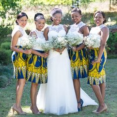 Sunny African Print Wedding by CC Rossler African Traditional Wedding, Traditional Dresses, African Attire, African Dress, Wedding Attire, Wedding Gowns, Bridal Dresses, African Wedding Dress, African Bridesmaid Dresses
